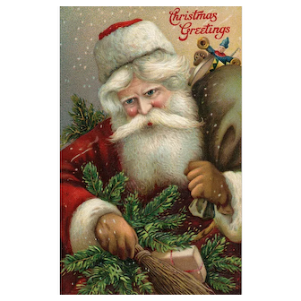 Beautiful Santa Claus Saint Nicholas vintage Christmas postcard