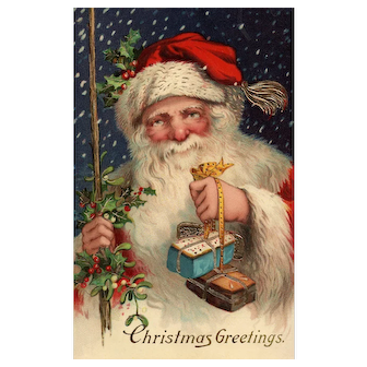 AMB Series 15855 Santa Claus with gold gilt Gel Gorgeous Christmas postcard