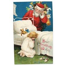 Signed Ellen Clapsaddle Vintage Christmas Postcard Santa Claus listens to prayer