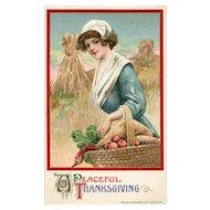 1911 John Winsch Samuel Schmucker vintage Thanksgiving Pilgrim woman postcard