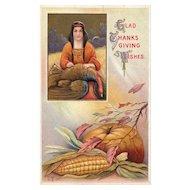 Nash Indian Thankgiving vintage postcard wishes