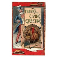 1924 Patriotic Uncle Sam Holds Tom Turkey Gold Gilt vintage Postcard