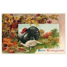 1909 Artist Signed R VeenFliet Vintage Thanksgiving Postcard