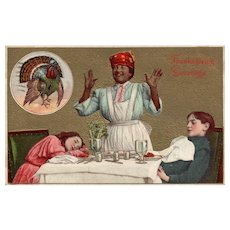 Black Americana Mammy Puts the children to sleep with her Thanksgiving Feast