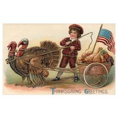 ABS #282 Patriotic  boy with Turkeys pulling Thanksgiving Cart Vintage Postcard