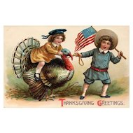 ABS 282 Patriotic Vintage Thanksgiving postcard Girl Rides Tom Turkey pulled by Boy