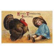 1908 Ellen Clapsaddle Vintage Thanksgiving postcard little boy with Turkey