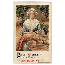 John Winsch Samuel Schmucker 1911 Vintage Thanksgiving postcard Pilgrim grapes