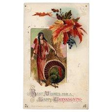 Vintage John Winsch Samuel Schmucker vintage Thanksgiving postcard Indian Maiden