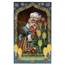 1914 Samson Brothers Series 7159 Blue robed Santa Claus Christmas Postcard Doll