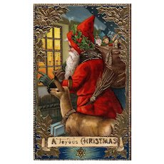 Samson Brothers 7054 Gold Gilt Embossed Gel Santa Claus with Deer 2 of 3 series
