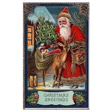 Samson Brothers Santa Claus with Reindeer Gold Gilt Gel Embossed Christmas postcard