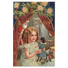 Merry Christmas Little girl gets her doll from Santa Claus Vintage Postcard