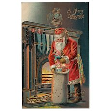 Merry Christmas Santa Claus by the Fireplace with his bag of Toys ABS 185 Gold Gilt Embossed