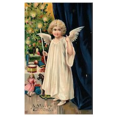 EAS Beautiful Angel Girl Gel vintage Christmas postcard