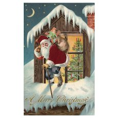 Silk Santa Claus toy delivery through window moon