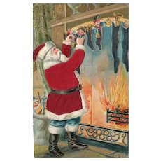 The stockings were hung by the chimney with care by Santa Claus Christmas Postcard Silk