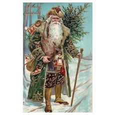 Early 1907 Fantastic Green Robed Santa Claus Published by Otto Schloss Embossed Christmas