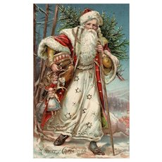 Gorgeous White Robed Santa Claus Embossed with gold  Otto Schloss Vintage Christmas Postcard #980