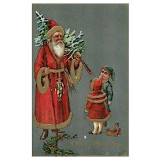 Vintage Old World Santa Claus Christmas postcard  with Boy girl Toy Tree