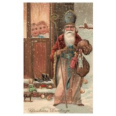 PFB Old world Saint Nicholas Religious vintage Christmas postcard greeting 6439