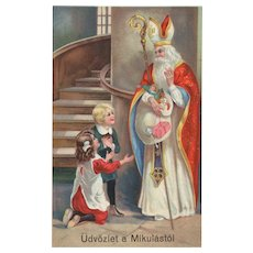 Saint Nicholas Vintage Christmas Postcard  German