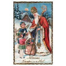 Gold Gilt Gel Saint Nicholas handing toys out Vintage Christmas Postcard  German