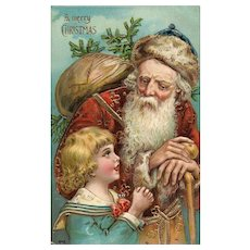 Red Robed Old World Santa Claus with Little girl Gold Embossed Otto Schloss