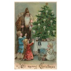 Early Pre 1907 Brown Robe Santa Claus with Children by Christmas Tree