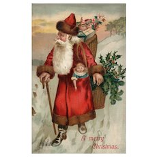 1908 Old World Santa Claus Red Robe Doll Vintage Christmas Postcard