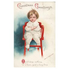 1913 Artist Signed Ellen Clapsaddle Vintage Christmas postcard No 1000