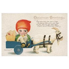 Boy Sitting In Wagon Carried By Goat Christmas Ellen H Clapsaddle Postcard