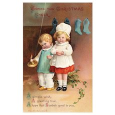 Boy and Girl Waiting For Santa Ellen H Clapsaddle Christmas Postcard