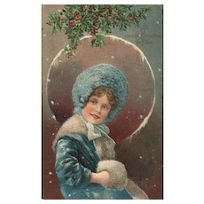 Beautiful Young Girl in Blue Christmas Full Moon Christmas Postcard