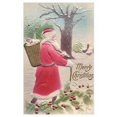 1909 Heavy Embossed & Airbrushed Santa Claus Vintage Christmas postcard