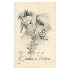 Artist Signed Weiss Santa Claus with Victorian woman Reindeer Christmas Postcard