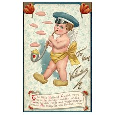 Raphael Tuck Valentine Postcard Series 120 Dutch Holland Cupid in Different Climes Playing Music
