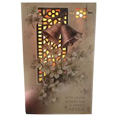 HTL Hold to The Light 1909 Church bells in front of Stained Glass Window Easter Postcard