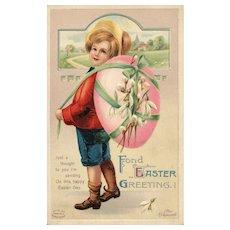 Signed Ellen Clapsaddle Boy carrying large Easter Egg vintage Postcard Series 1257