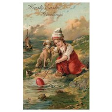 PFB 6806 Little Dutch girl with lamb at water sailboat Easter Postcard