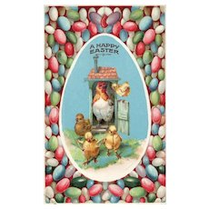 Gel Happy Easter Vintage Postcard momma Hen and her chicks in hen house Colored eggs