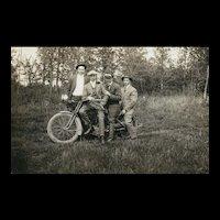 Vintage Harley Davidson Motorcycle Real Photo Postcard