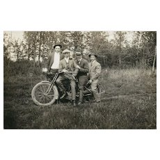 Vintage Harley Davidson Motorcycle Real Photo Postcard