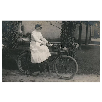 1918 Real Photo Woman on a Motorcycle vintage Postcard