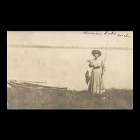 Vintage Real Photo Fishing Fish Indian Lake Michigan Postcard