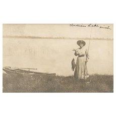Vintage Real Photo Fishing Fish Indian Lake Michigan Postcard