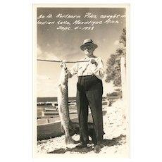 Vintage Real Photo Fishing Fish Pike Indian Lake Michigan 1938 Postcard