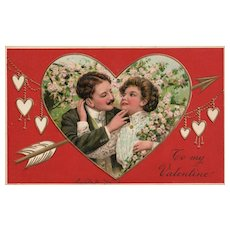 PFB Red Romantic couple in heart with arrow vintage postcard