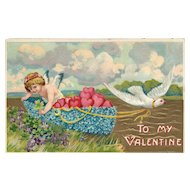 Cupid delivering hearts via a Dove bird pulling a boat HH & Co  Series 687