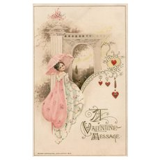 1913 John Winsch Beautiful woman in pink with umbrella Valentine message